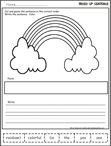Mixed Up Rainbow Sentence Madebyteachers Beginning Sounds Worksheets Mini Books Sentences Kindergarten
