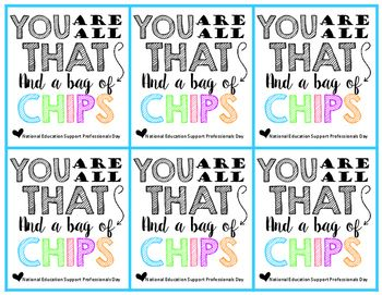 You Are All That And A Bag Of Chips Labels {Freebie} #employeeappreciationideas