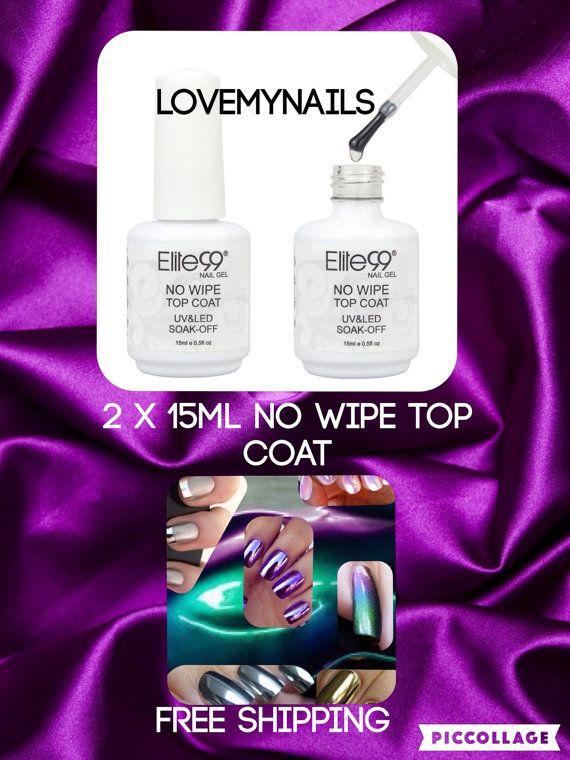 No wipe top coat nail gel 2 bottles of 15ml by Lovetobakeandcraft