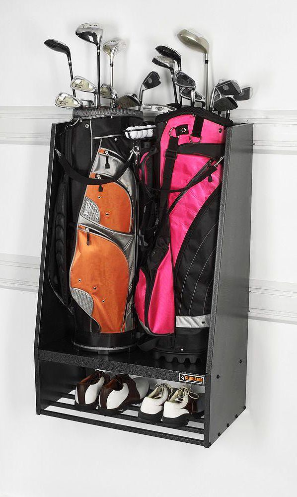 gladiator premier series welded steel 2bag golf caddy garage wall storage in hammered granite - Gladiator Shelving