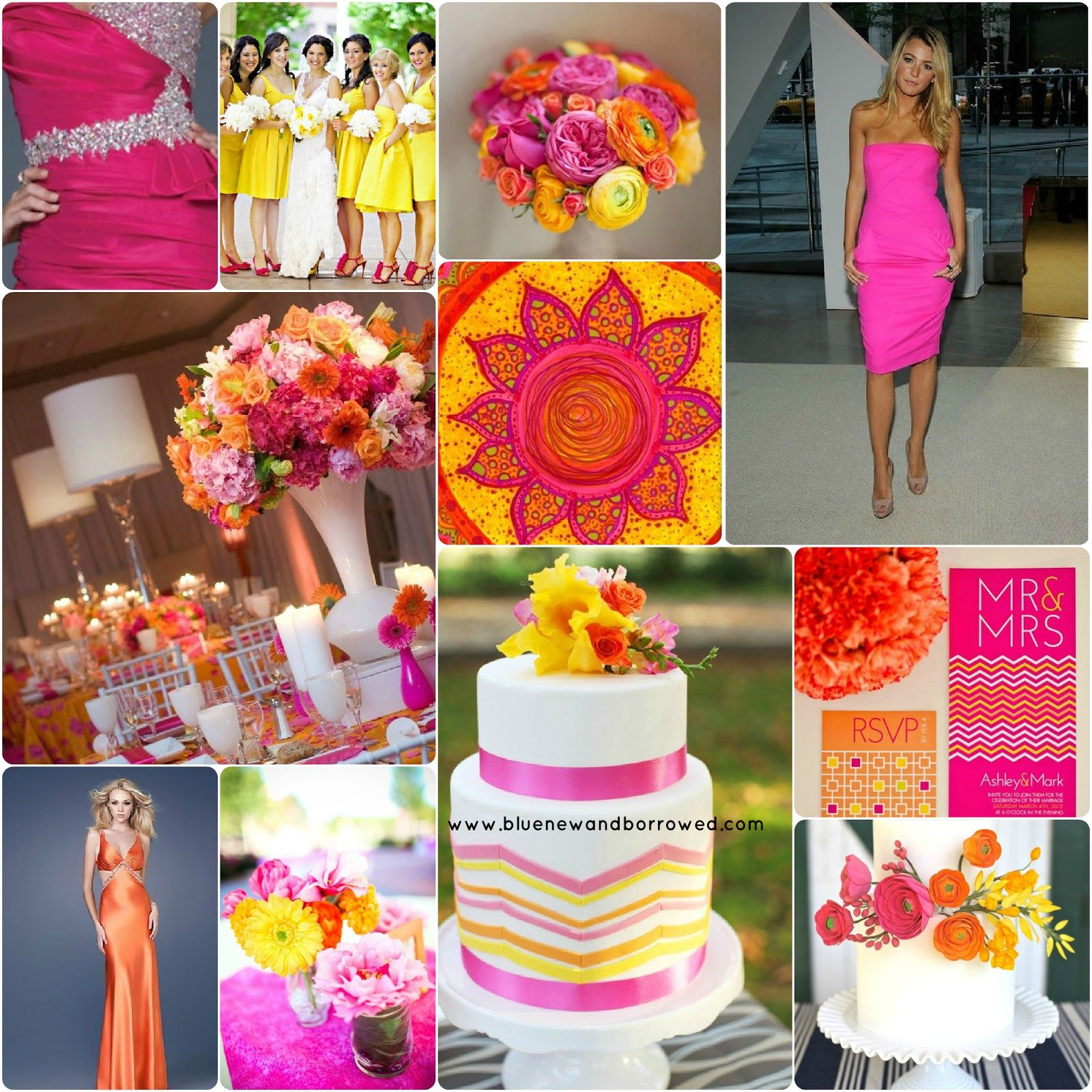 Wedding colors hot pink yellow and tangerine wedding for Pink and yellow wedding theme ideas