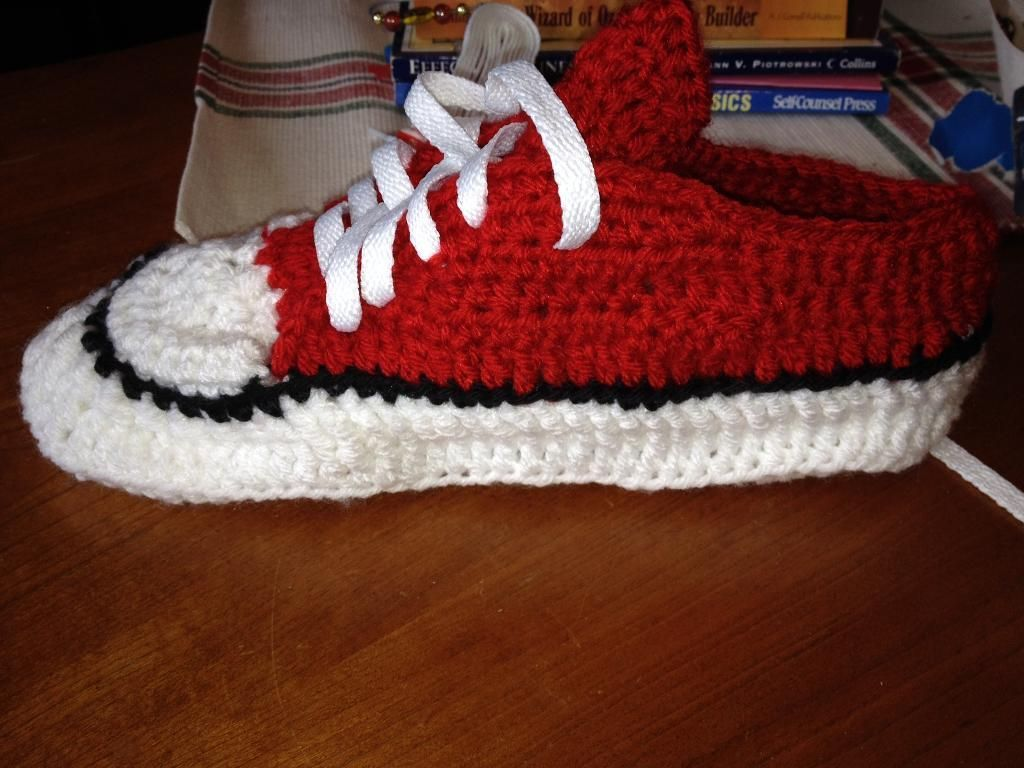 PATTERN ONLY ! Crocheted shoe style converse slippers ...