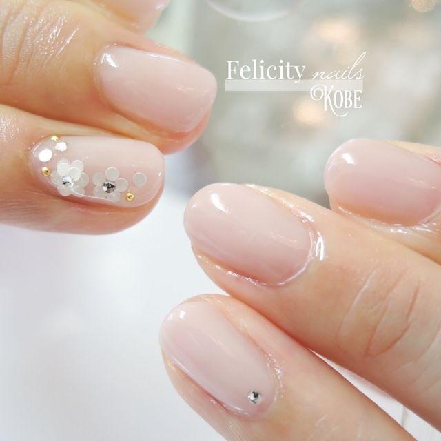 ネイル 画像 Felicity nails神戸 鈴蘭台 1470525 パステル ピンク グラデーション フラワー オフィス 春 ソフトジェル ハンド ミディアム