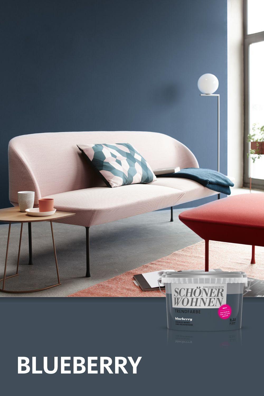 Trendfarbe Blueberry Schoner Wohnen Farbe Minimalistische Wohnzimmer Schoner Wohnen Trendfarbe