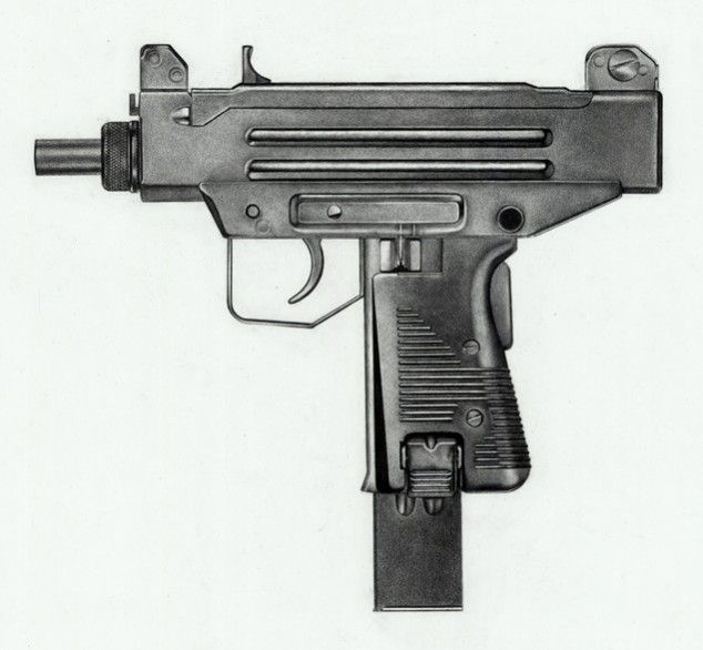 Photorealistic charcoal drawings of guns [6 pictures ...