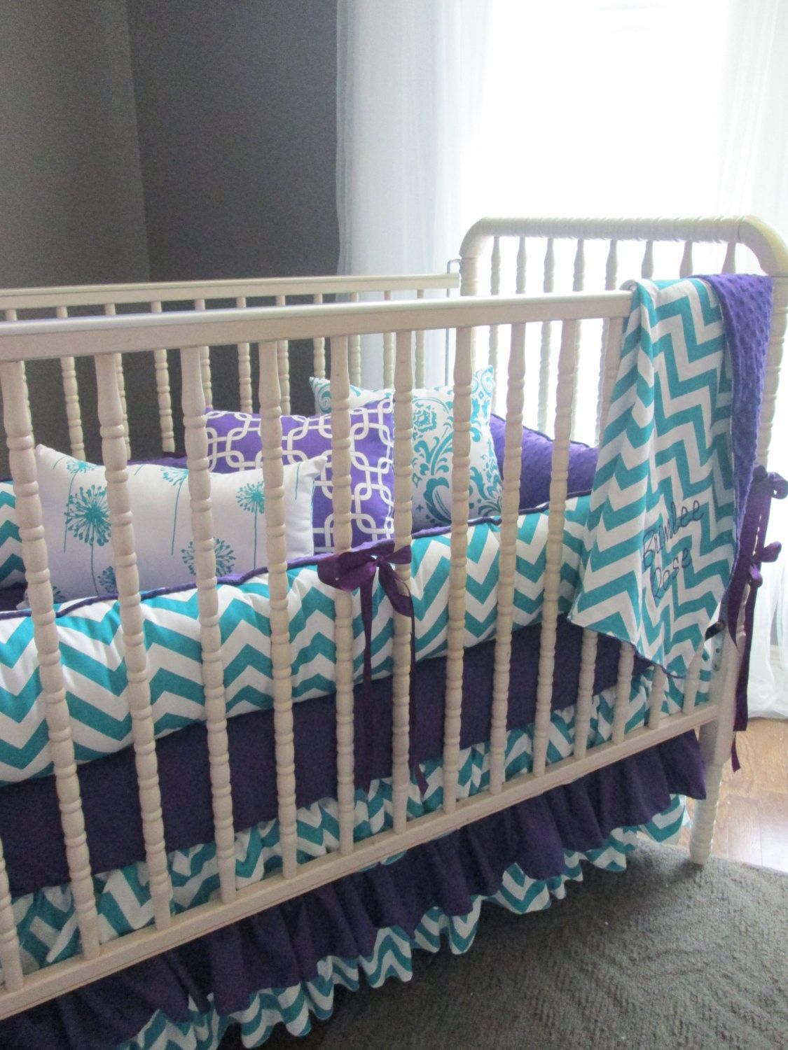 Brimlee Candy Purple And True Turquoise Custom Baby Bedding Set
