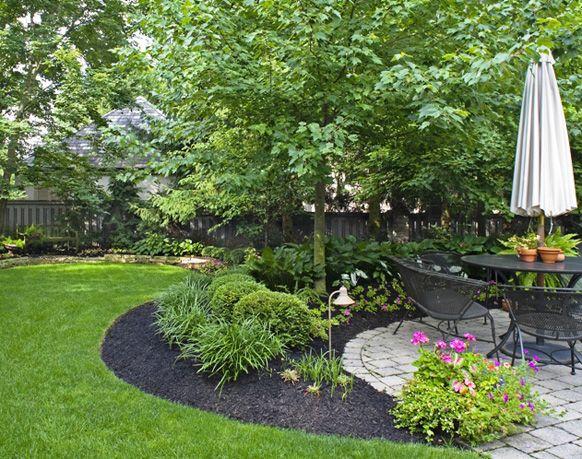 Beautiful Green Lawn, Black Mulch, Stone Patio, Mature Landscaping