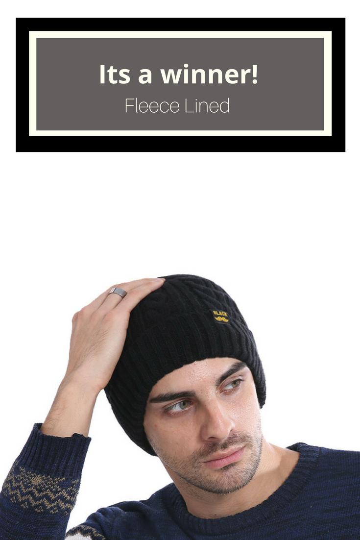 dc26782eee6 Fleece lined men s knit beanie hat Free Shipping