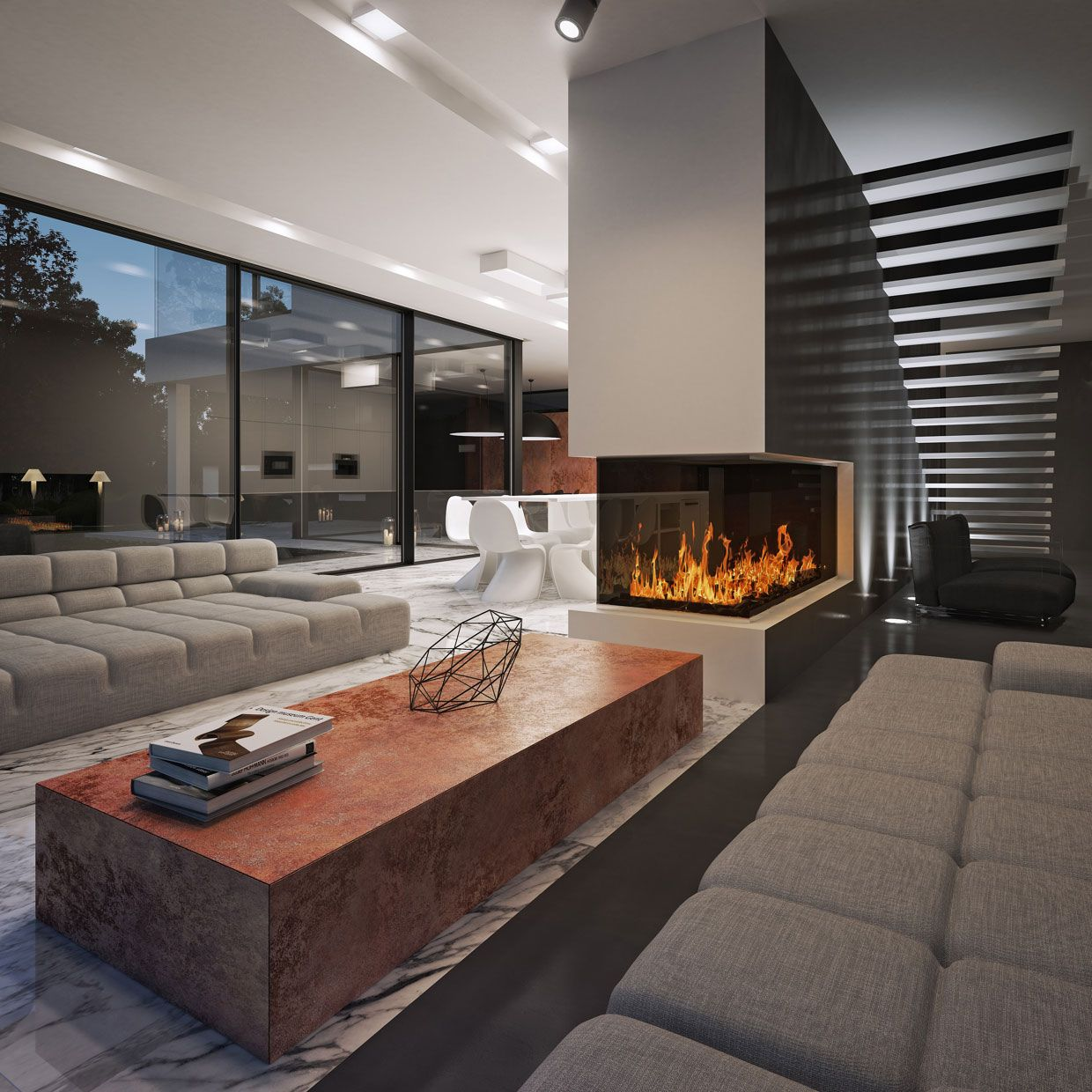 architecture modern minimalist living room design with red marble table and fireplace in the middle - Living Room With Fireplace In Middle