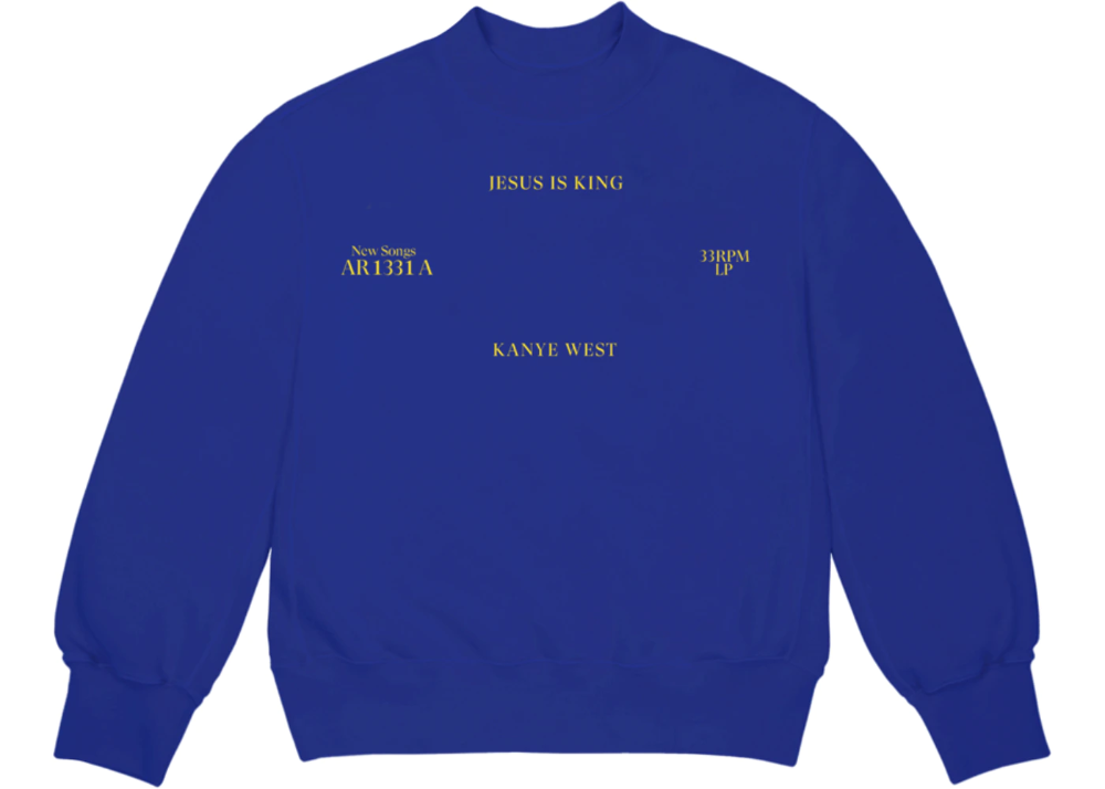 Kanye West Jesus Is King Vinyl I Crewneck Blue In 2020 Kanye West Kanye Shirt La Outfits