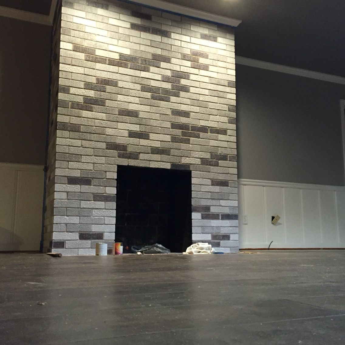 my after fireplace project painted each brick with leftover wall