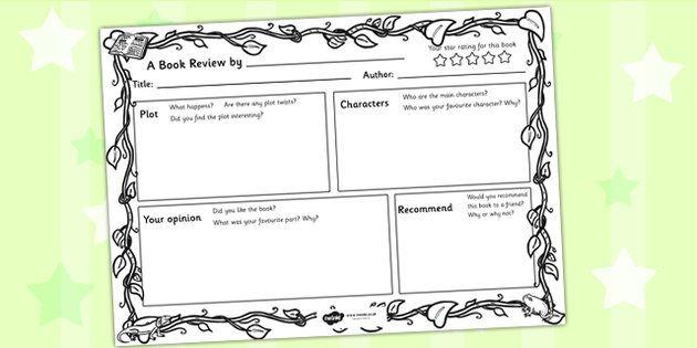 Jungle Themed Book Review Template 5th grade Pinterest Book - book reviews template