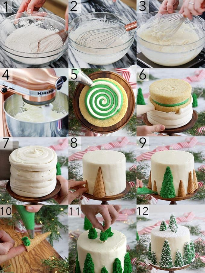 A Photo Collage Showing The Steps To Make A Vanilla Christmas Tree Cake Christmas Tree Cake Tree Cakes Christmas Cake