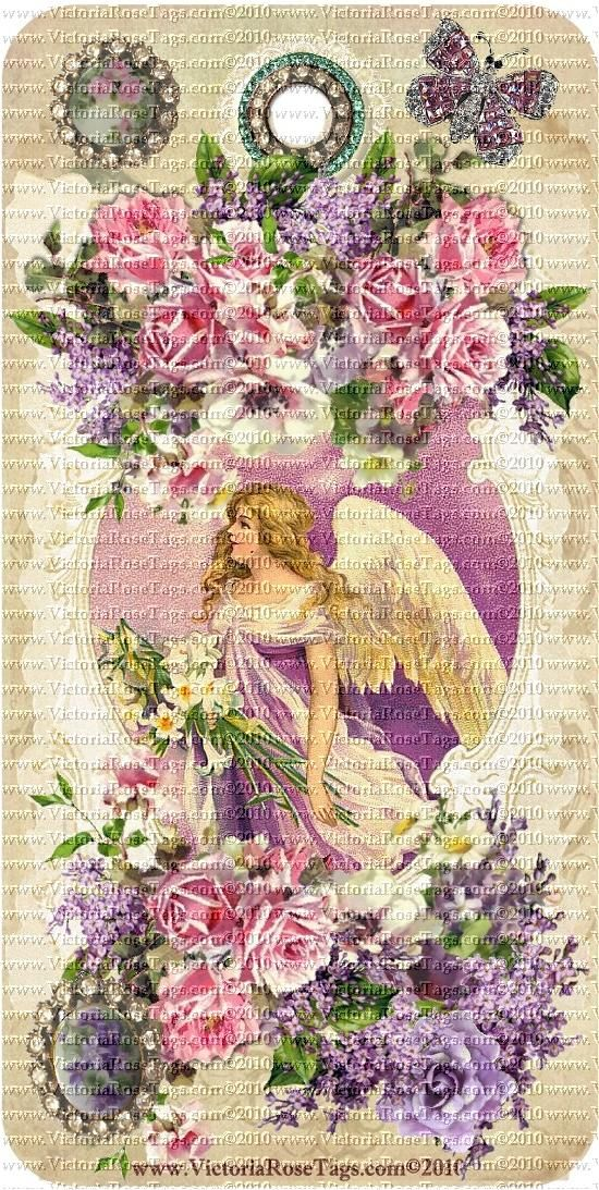 A-Victoria's Vintage Spring Bouquets Easter Series Set 3 Angels