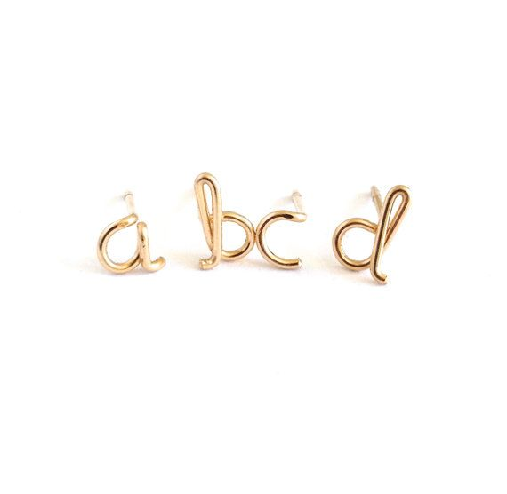 Gold Initial Studs Lowercase Letter Stud Earrings Initial Earrings Studs Letter Earrings Solid Gold Stud Earrings