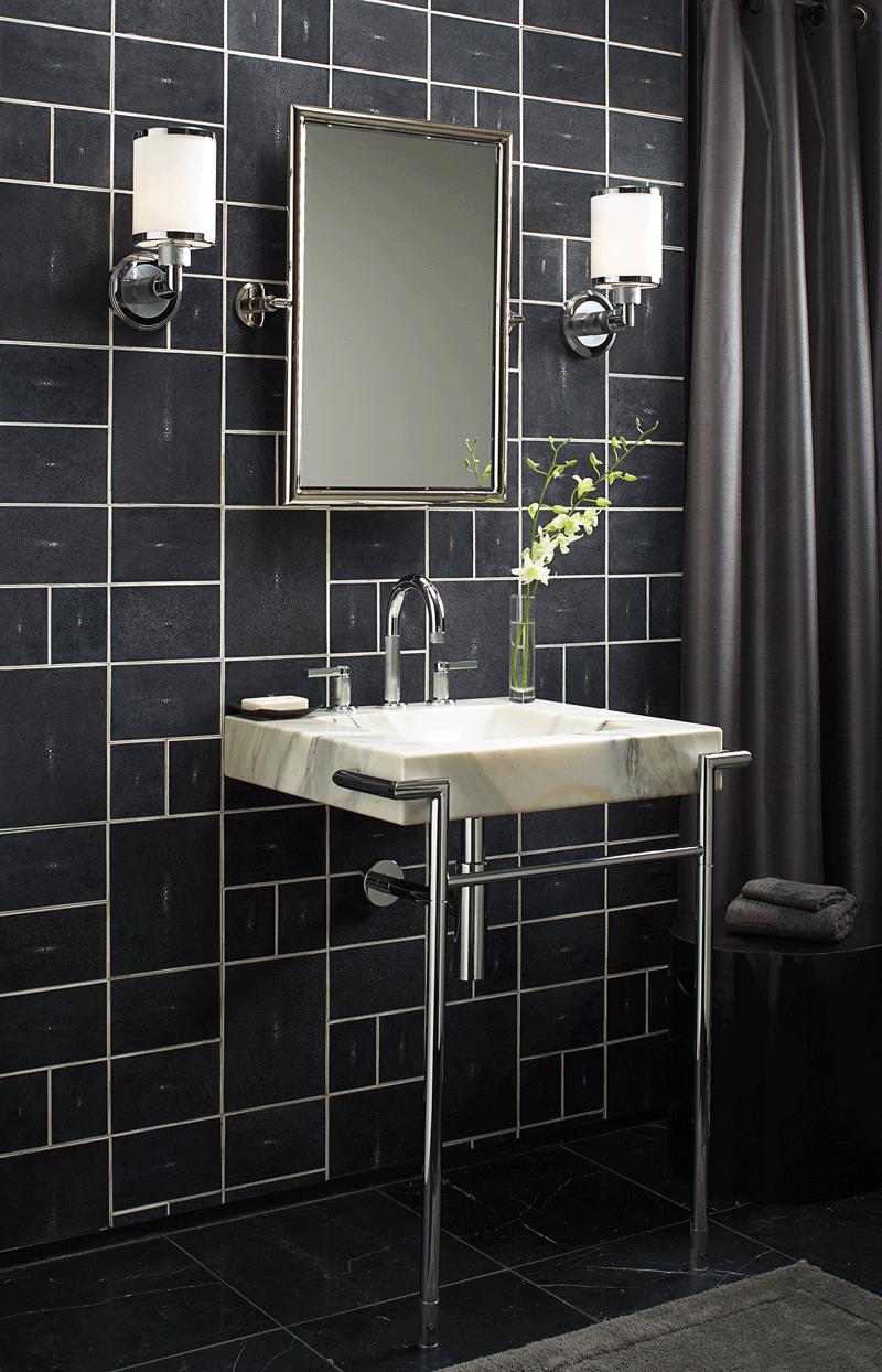 "Ann Sacks Shagreen 4"" X 5"" 5"" X 8"" And 8"" X 10"" Fields In Black Inspiration 5 X 8 Bathroom Design Decorating Design"
