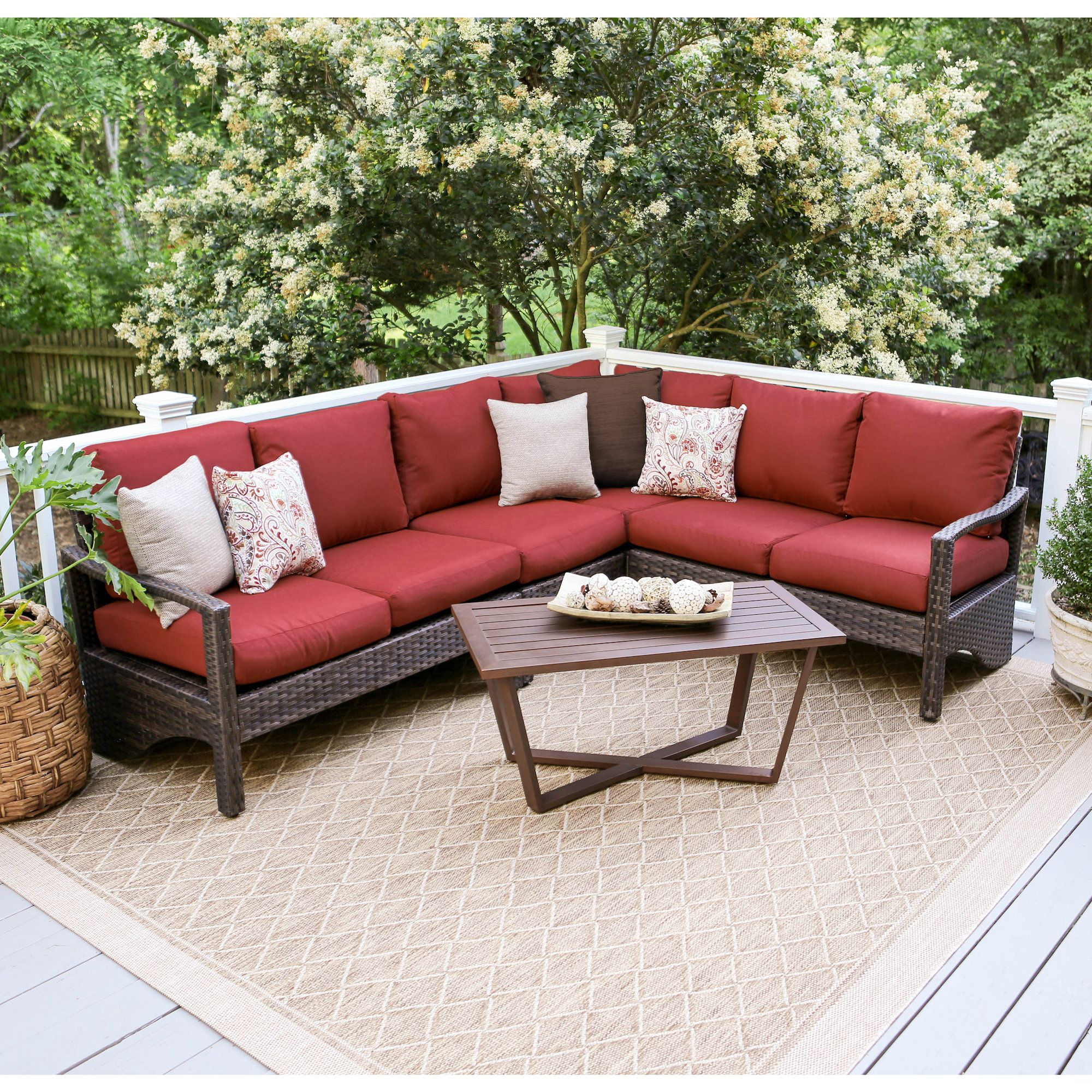 Augusta 5 Piece Sectional Set With Cushions Products Wicker