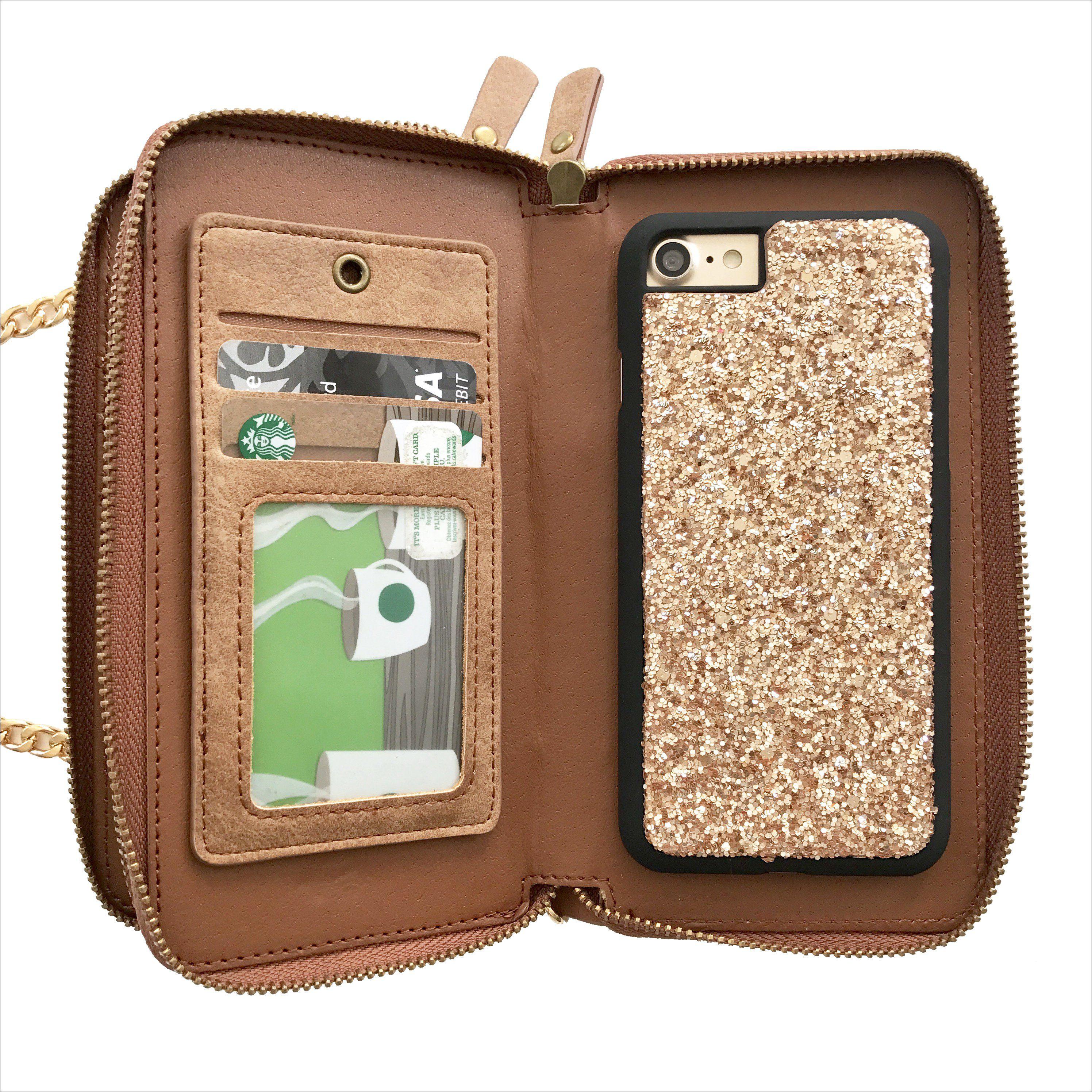 a52dcce68667 Champagne Glitter Crossbody Wallet Case in Tan Glitter Phone Cases