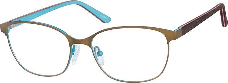 Zenni Oval Prescription Eyeglasses Brown Woodgrain