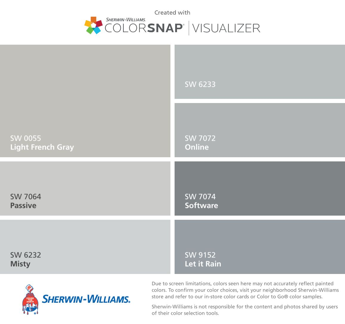 Actual Colors I Will Use To Paint The House Light French Gray Sw