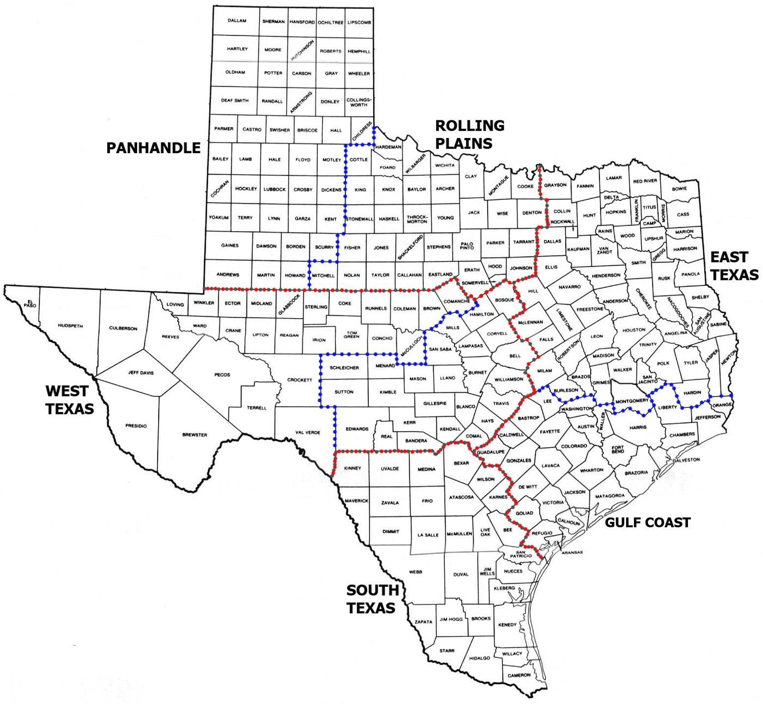Texas Counties Map With Cities Over In Population
