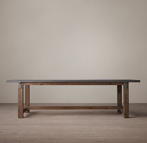 RHu0027s Reclaimed Wood U0026 Zinc Top Strap Rectangular Dining Table:A Well Chosen  Combination Of Old And New, Our Handcrafted Table Pairs Reclaimed Timbers  With A ...