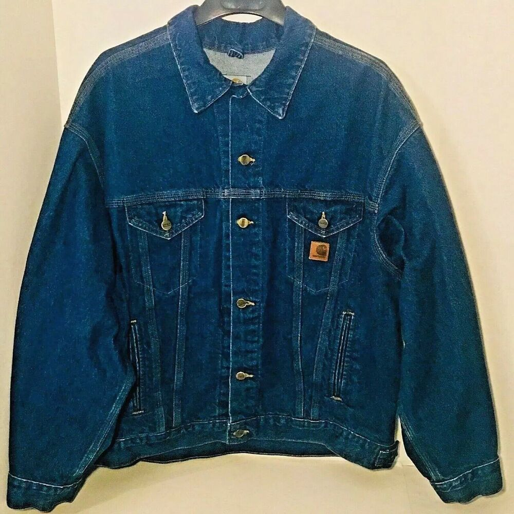 Vtg 80s Carhartt Denim Jacket Mens Size Xl Blue Jean Trucker Med Wash Union Made Carhartt Denim Jacket Denim Jacket Men Carhartt Jacket [ 1000 x 1000 Pixel ]