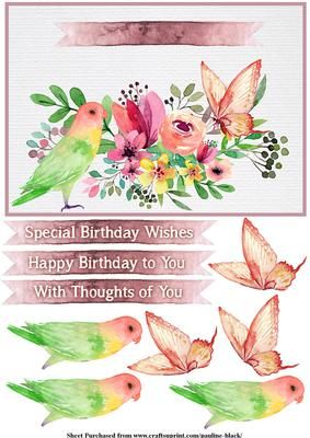Tropical Watercolour Parrot on Craftsuprint designed by Pauline Black - There are five A5 card fronts with beautiful watercoloured flowers, birds and butterflies on a textured watercolour paper background. There are 3 watercolour banners as sentiment tags (all with the same text). - Now available for download!