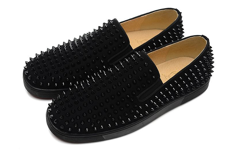955d2387e70 Christian Louboutin Roller-Boat Black Spikes Suede Mens Flat Sneakers All  Black
