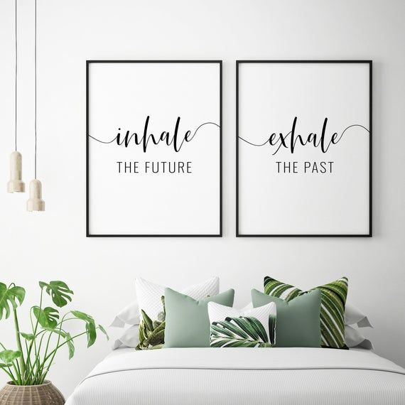 Inhale The Future Exhale The Past Printable Art, Set of 2 Wall Art Posters, Inspirational Quote Prin