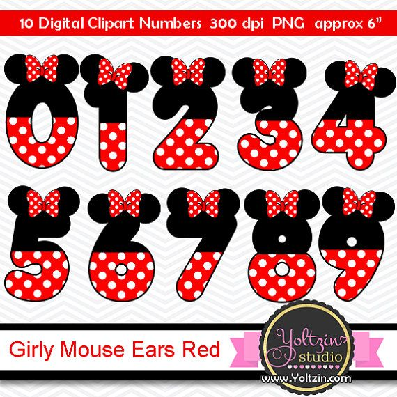 Minnie Mouse Clipart Numbers Ears Red Black Age Digital Clip Etsy In 2021 Minnie Mouse Clipart Mickey Mouse Clipart Minnie Mouse
