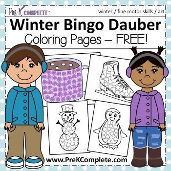 Winter Bingo Dauber Coloring Pages Free Printable Bingo Dauber Bingo For Kids Early Childhood Math
