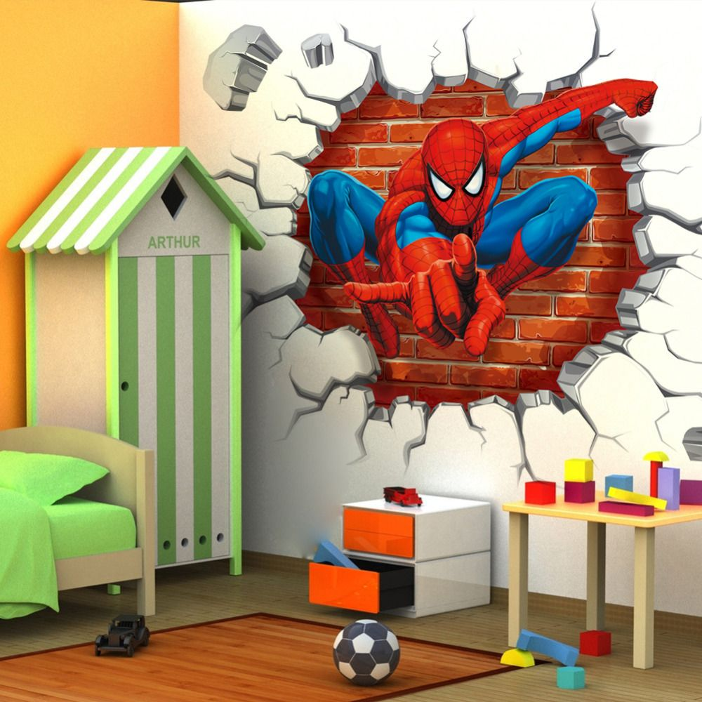 Alluring kids room wall stickers decorating idea with cute mini - 45 50cm Hot 3d Hole Famous Cartoon Movie Spiderman Kids Boys Love Gifts Room Decal