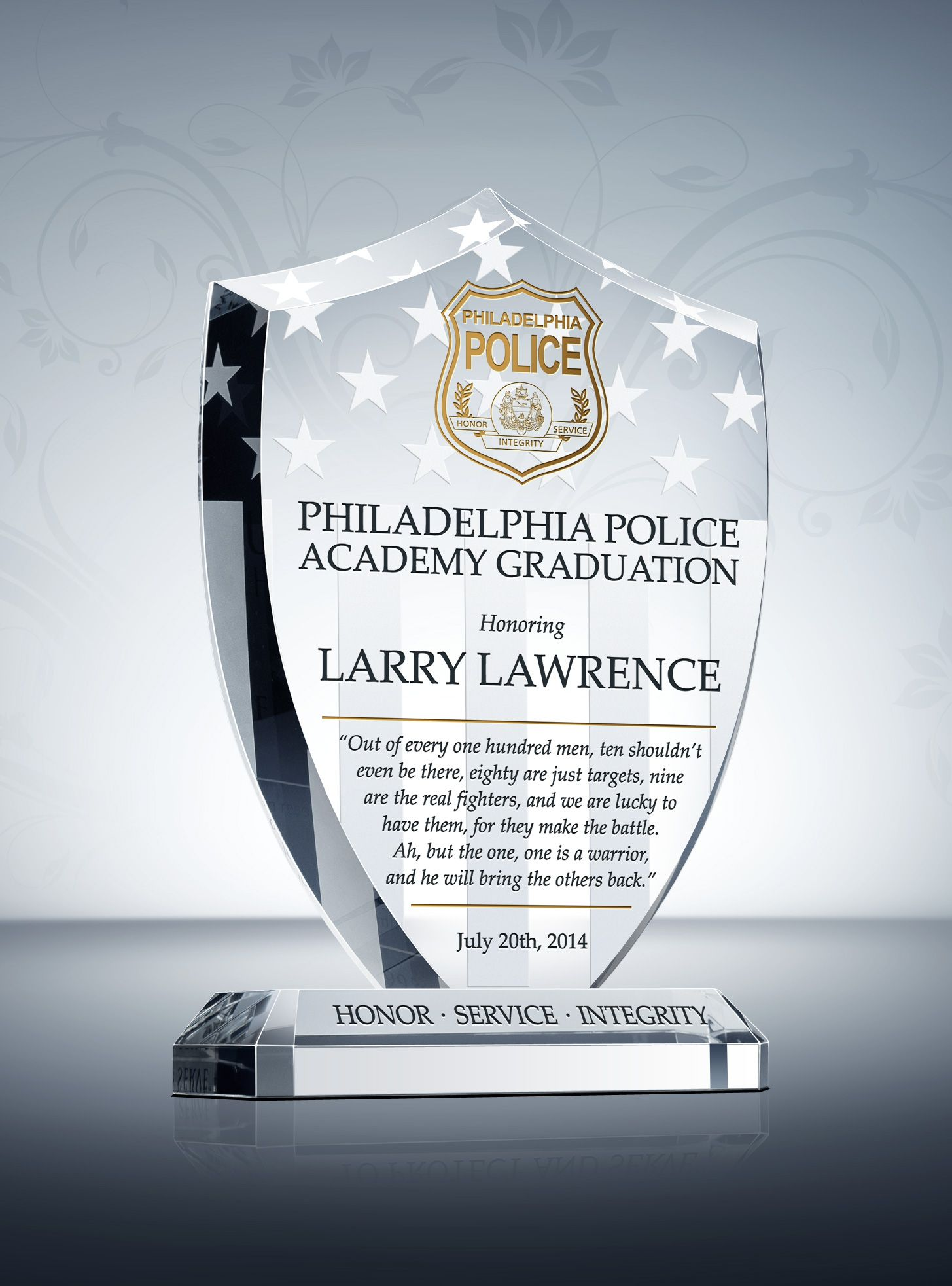 Unique police recognition plaques and sample wordings yelopaper Choice Image