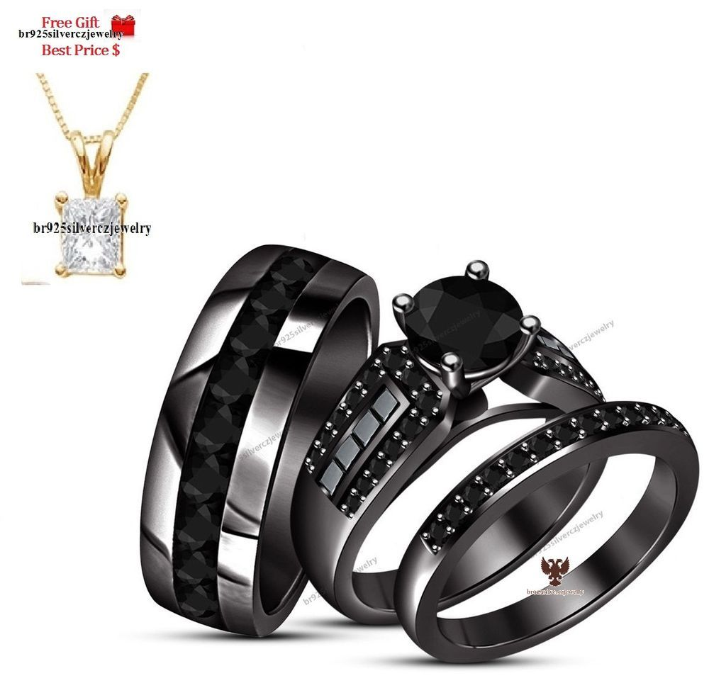 Natural Black Diamond With 14k Black Gold Men S Women S Trio