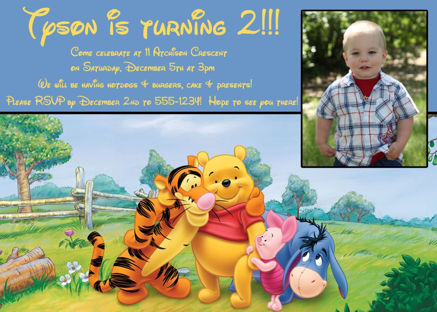 Winnie the Pooh Boy/Girl Birthday Invite 5x7 by hlatreille, $12.00 ...