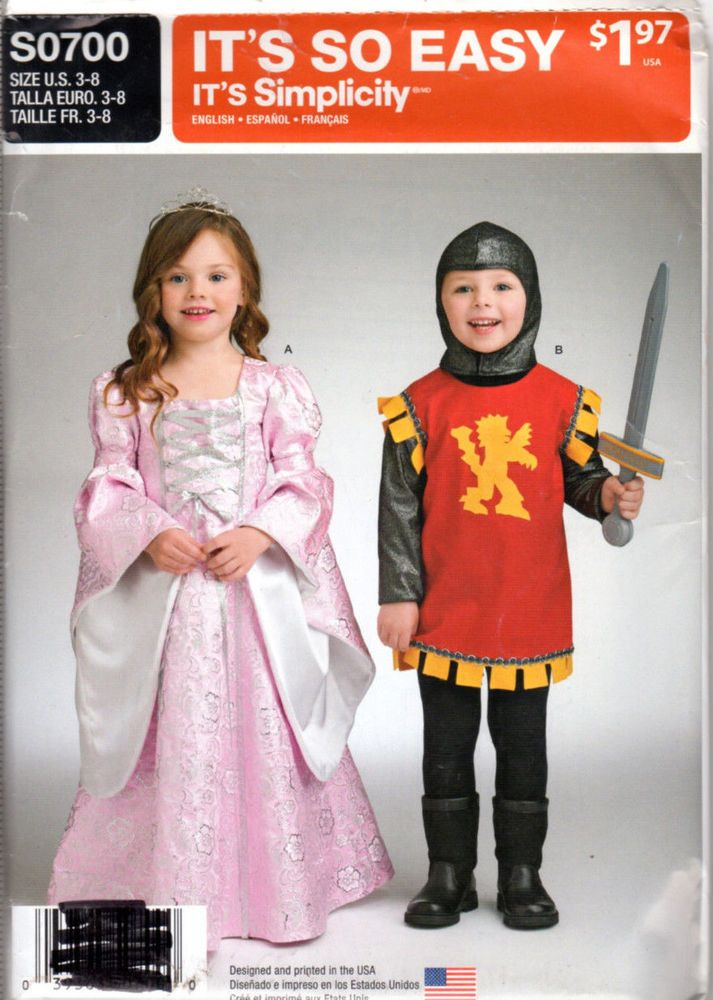 new uncut simplicity sewing pattern s0700 child s costume sz 3 8