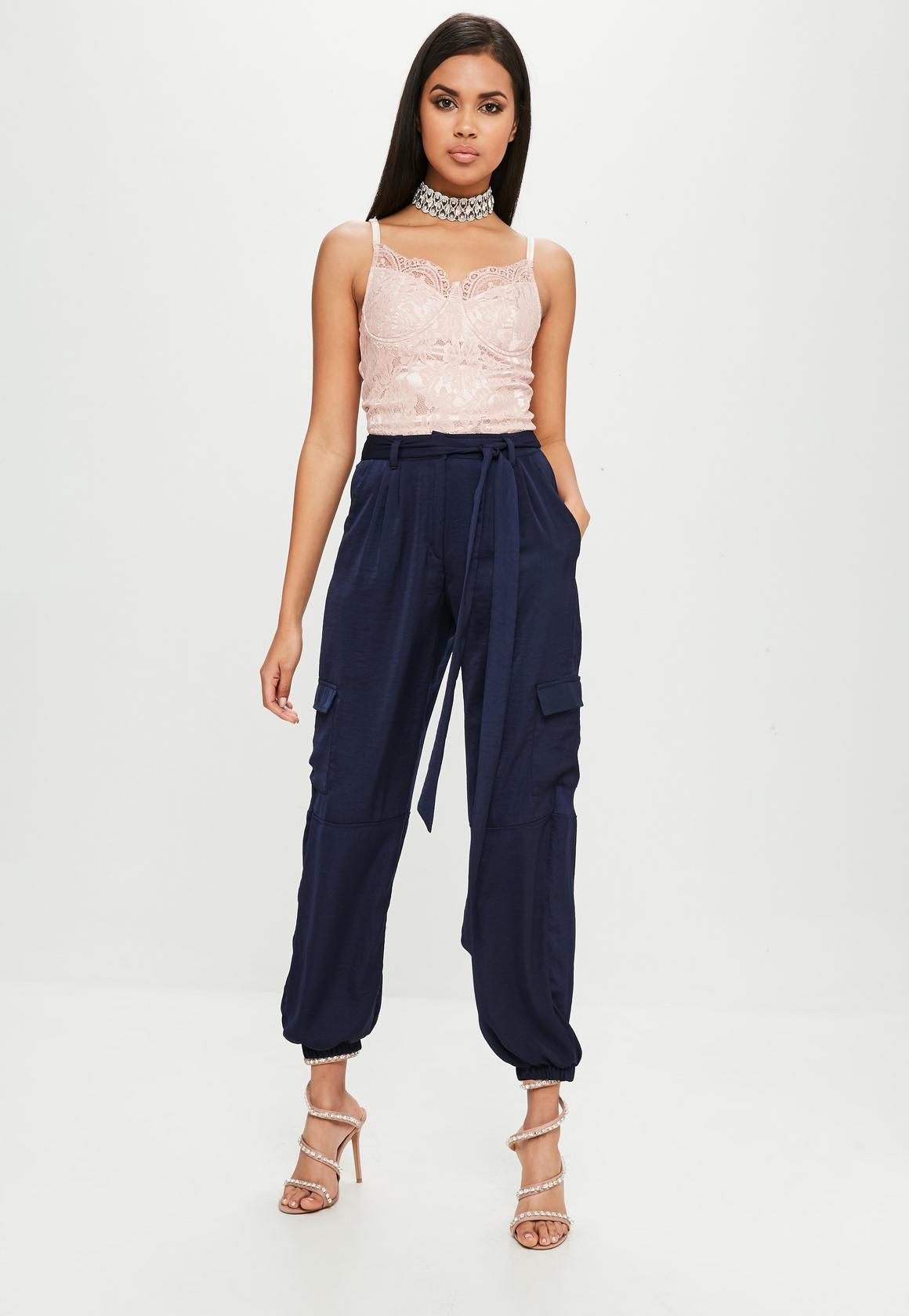 13be8cc0ba2e1 Missguided - Carli Bybel x Missguided Navy Satin Cargo Pants ...