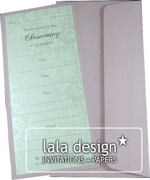 Silver and green damask christening invitation
