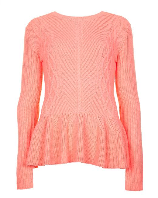 5c1bb23b96e719 Rib detail peplum sweater - Coral | Sweaters | Ted Baker | Swoon ...