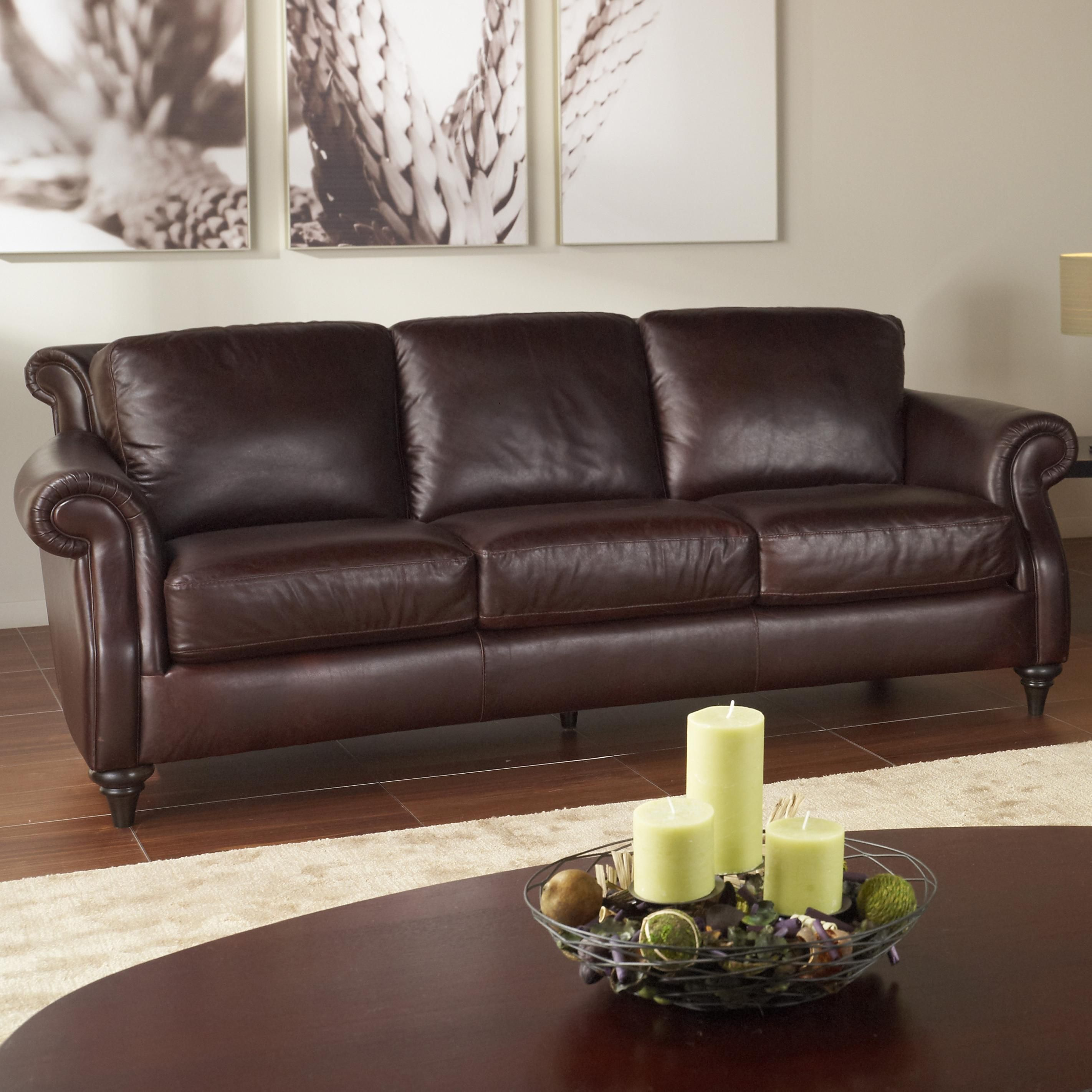 A297 Traditional Leather Sofa with Wood Feet by Natuzzi Editions ...