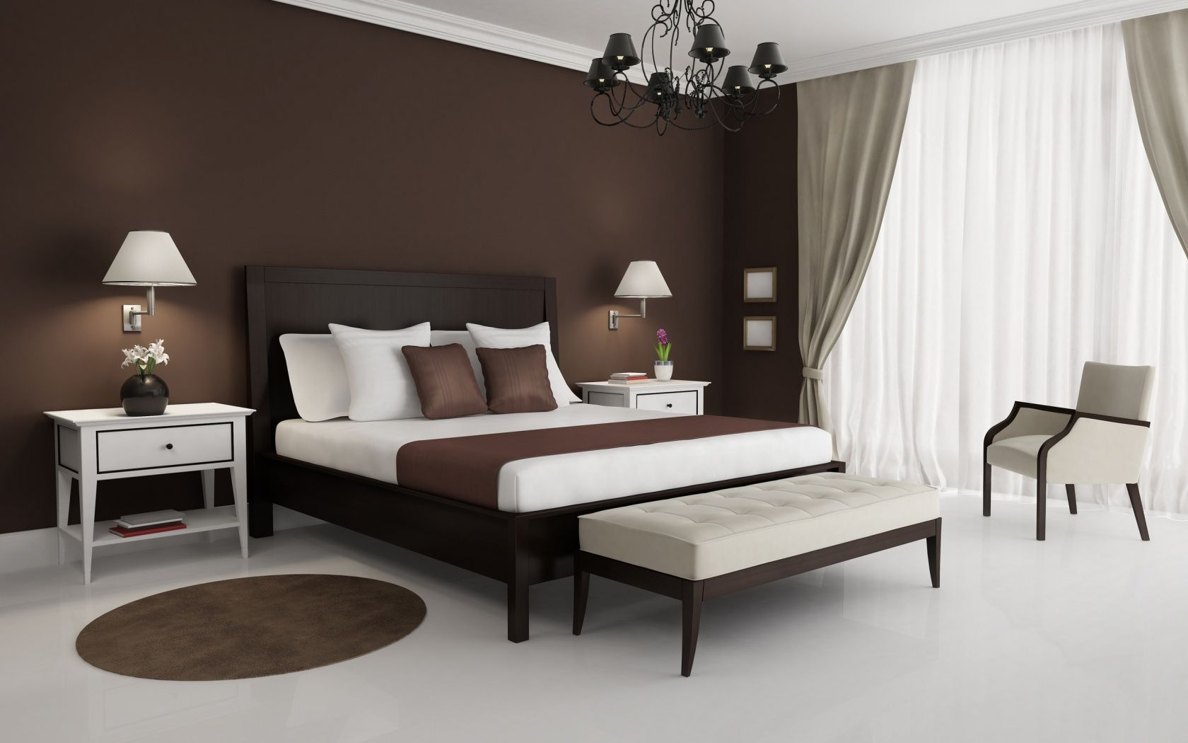 white bedroom with brown furniture walls linens wood to