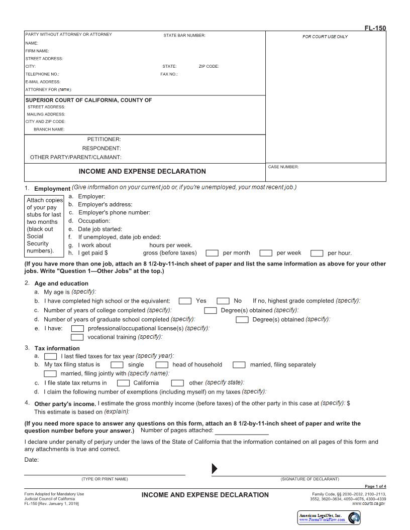 Income And Expense Declaration Fl 150 Pdf Fpdf Docx