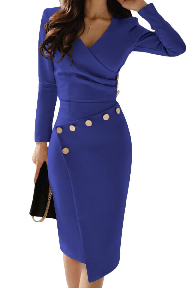 asymmetric button detail cobalt blue ruched midi dress
