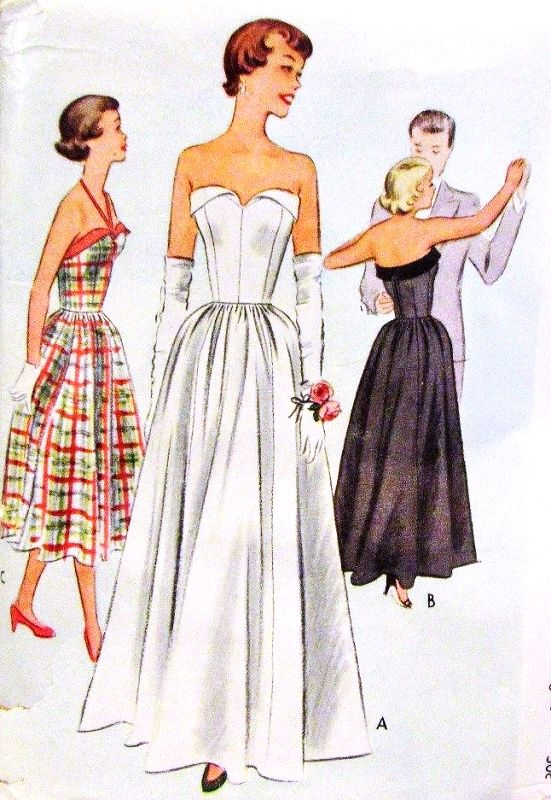 1950s BEAUTIFUL Strapless Evening Gown Pattern McCALL 8235 Strapless ...