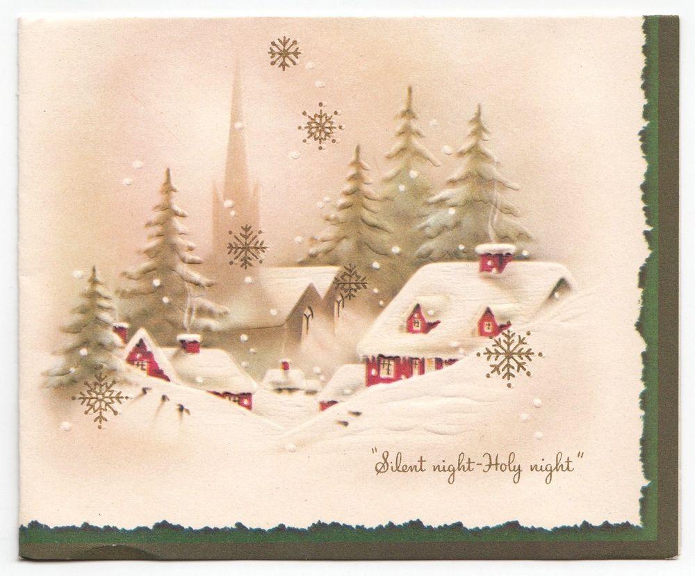 Vintage Greeting Card Christmas Silent Night Snow Scene Houses ...