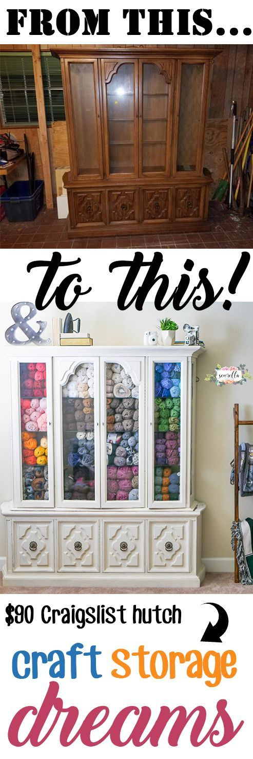 Turn an old thrifted hutch into the yarn or craft supply storage of your dreams! Easy furniture rehab using chalk paint