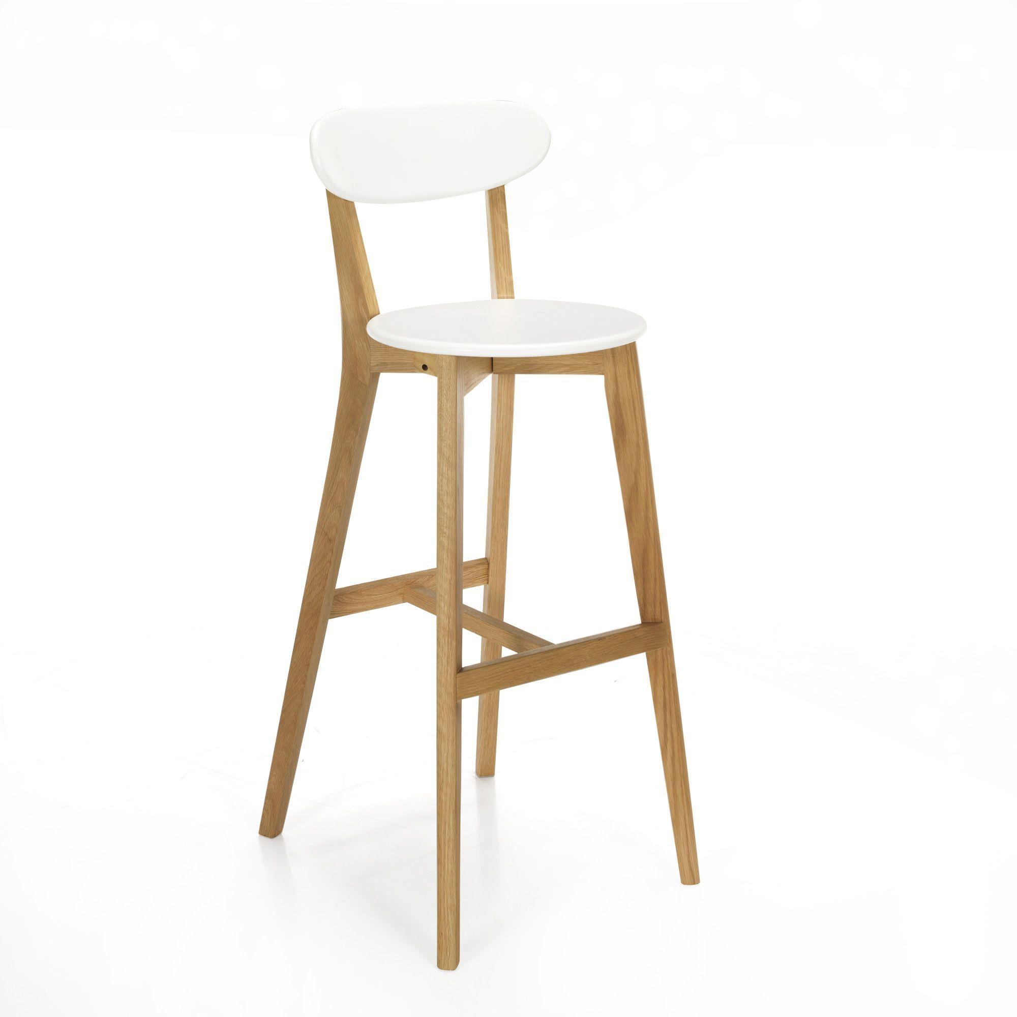 chaise de bar design scandinave coloris blanc - siwa - tabourets