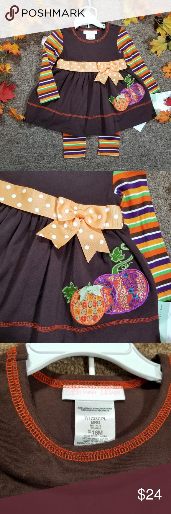 Bonnie Jean Baby Girls Brown Orange Stripe Polka Dot Belted Dress 18M