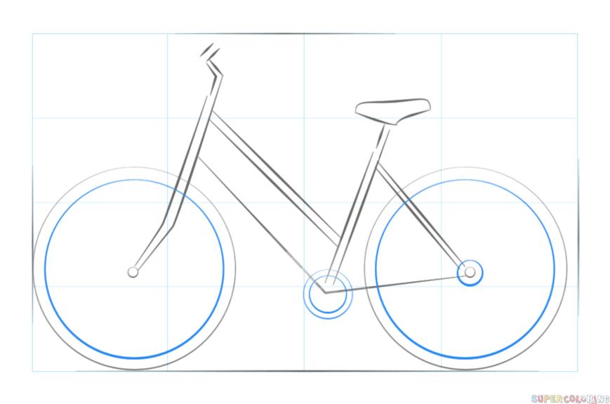 Fahrrad zeichnen 4 schritt für schritt für anfänger &